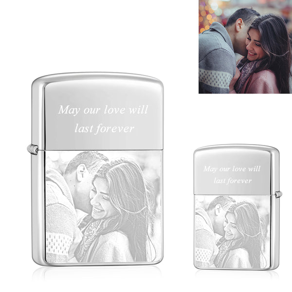 Silver | Zippo Style Custom Engraved Sketch Photo Lighter