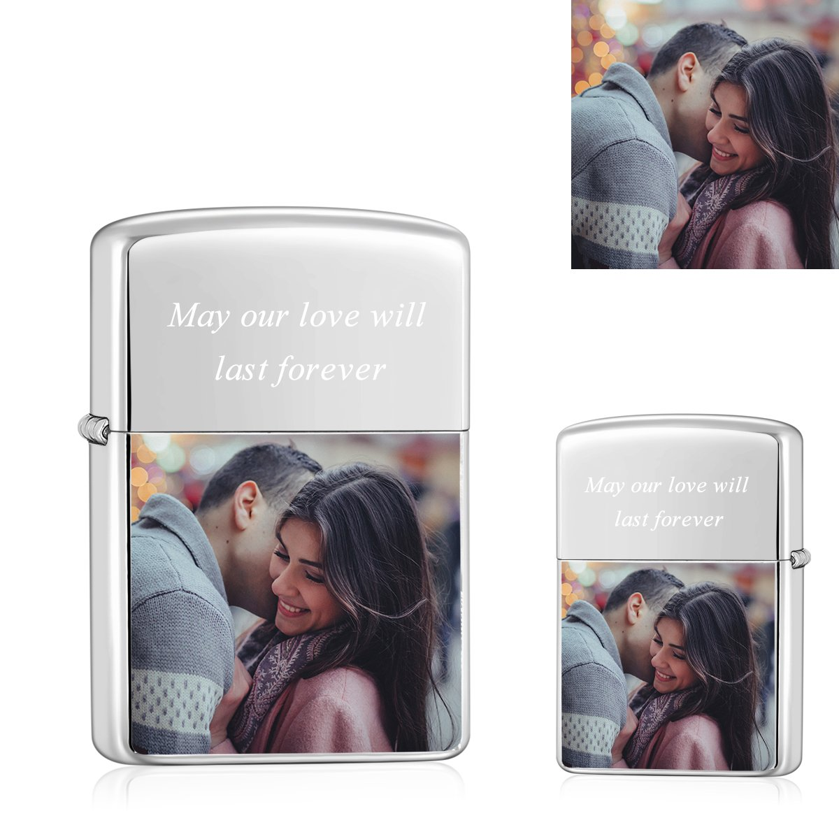 Silver | Zippo Style Custom Engraved Color Photo Lighter