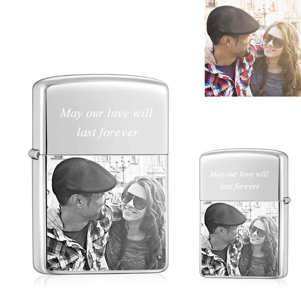 Silver | Zippo Style Custom Engraved Sketch Photo Lighter | USB Power | For Lover