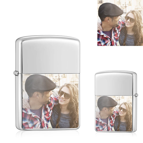 Silver | Zippo Style Custom Engraved Color Photo Lighter | USB Power | For Lover