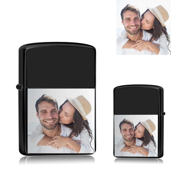 Black | Zippo Style Custom Engraved Color Photo Lighter | USB Power | For Boyfriend