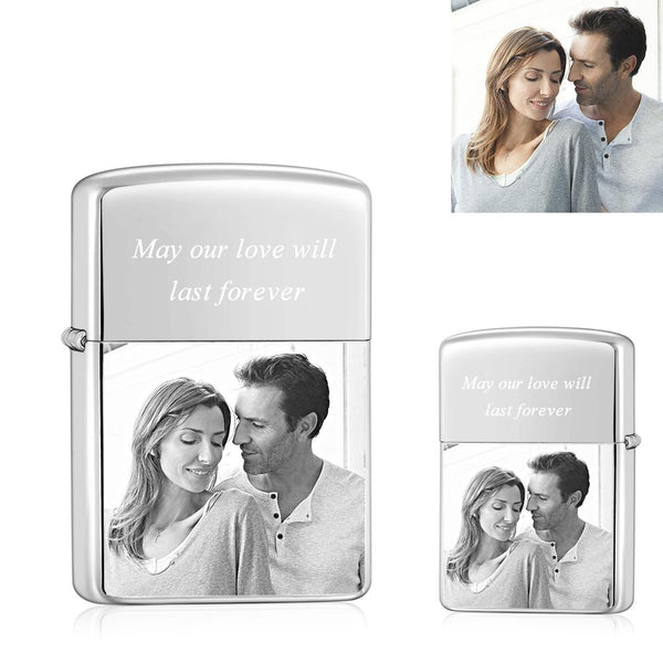 Silver | Zippo Style Custom Engraved Color Photo Lighter | USB Power | For Boyfriend