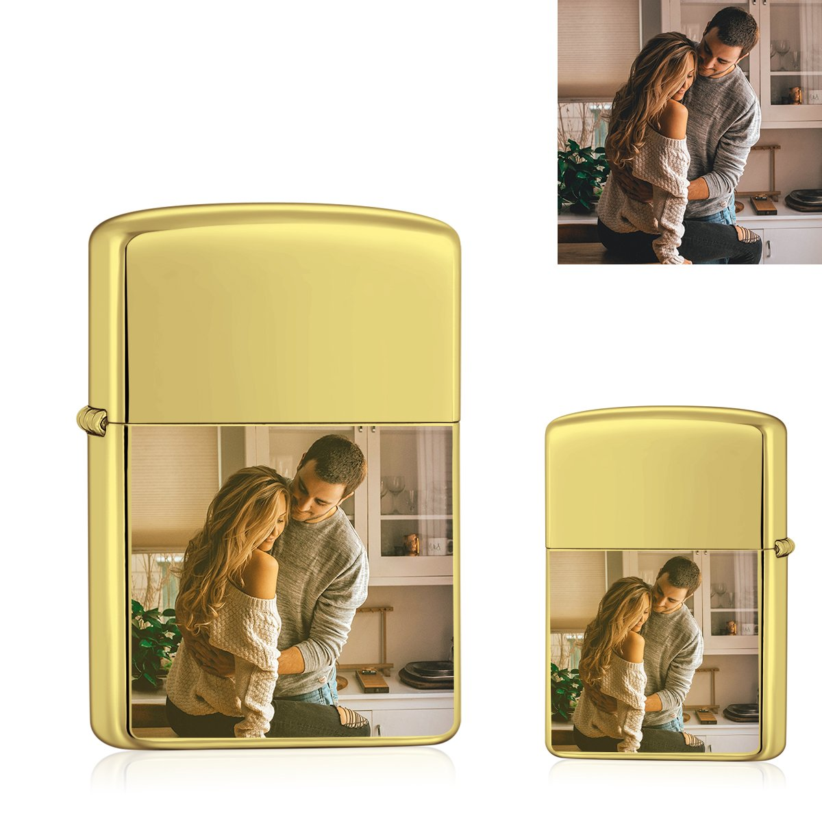 Golden | Zippo Style Custom Engraved Color Photo Lighter | USB Power | For Boyfriend