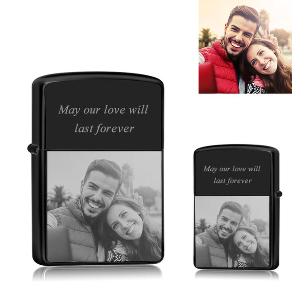 Black | Zippo Style Custom Engraved Color Photo Lighter | USB Power | For Husband