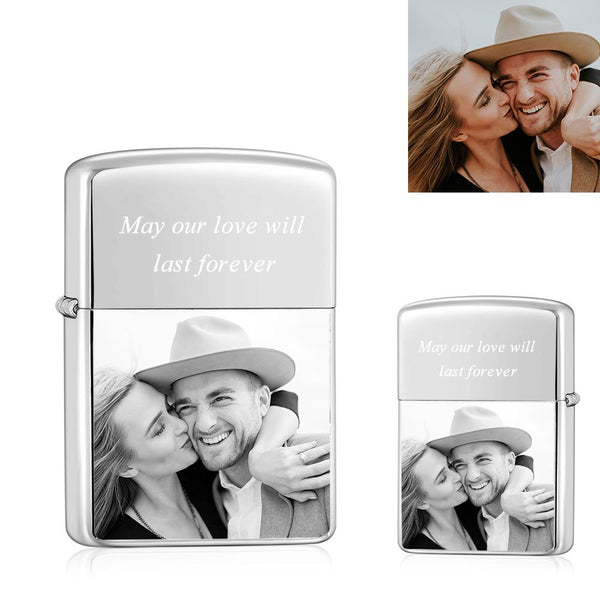 Silver | Zippo Style Custom Engraved Color Photo Lighter | USB Power | For Husband