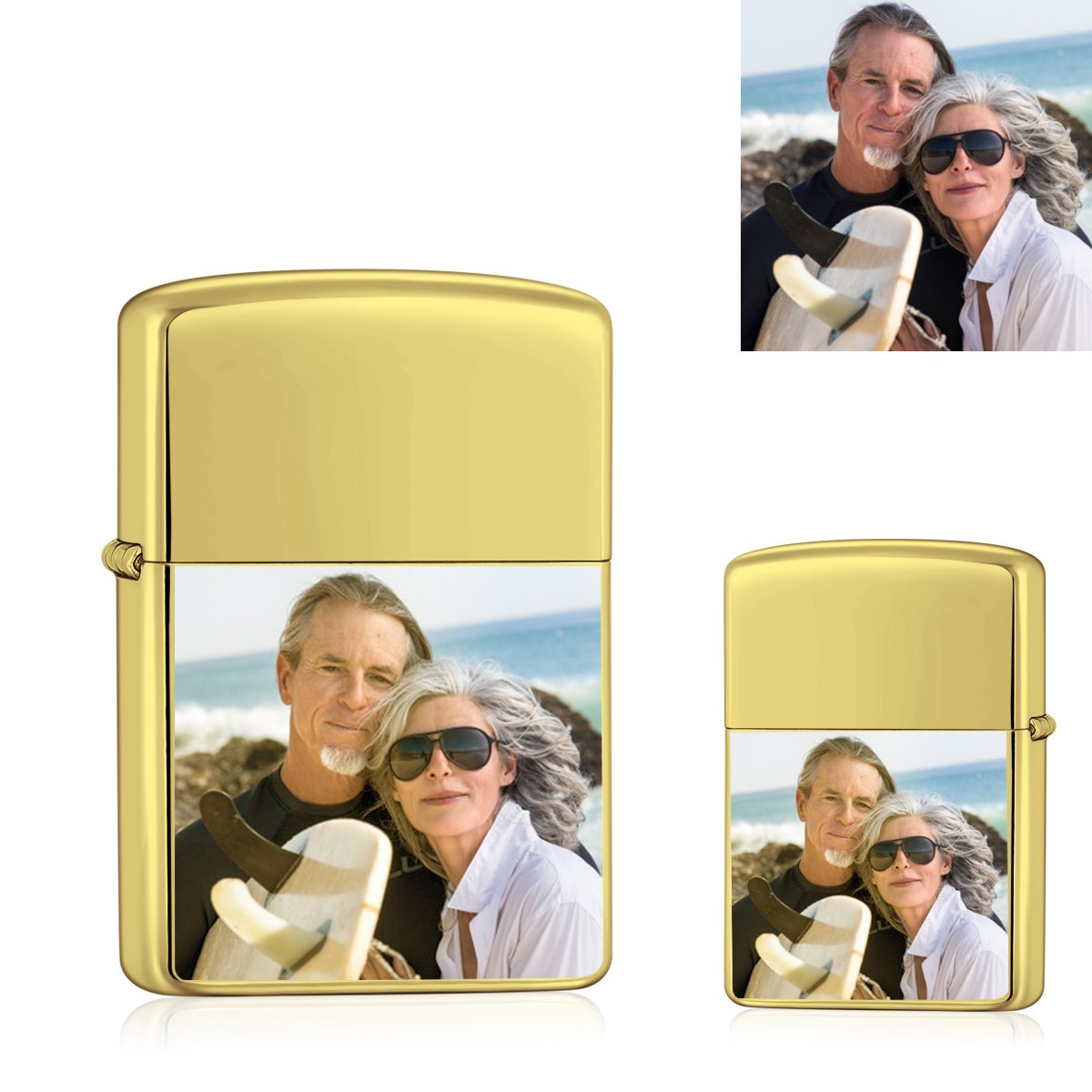 Golden | Zippo Style Custom Engraved Color Photo Lighter | USB Power | For Husband