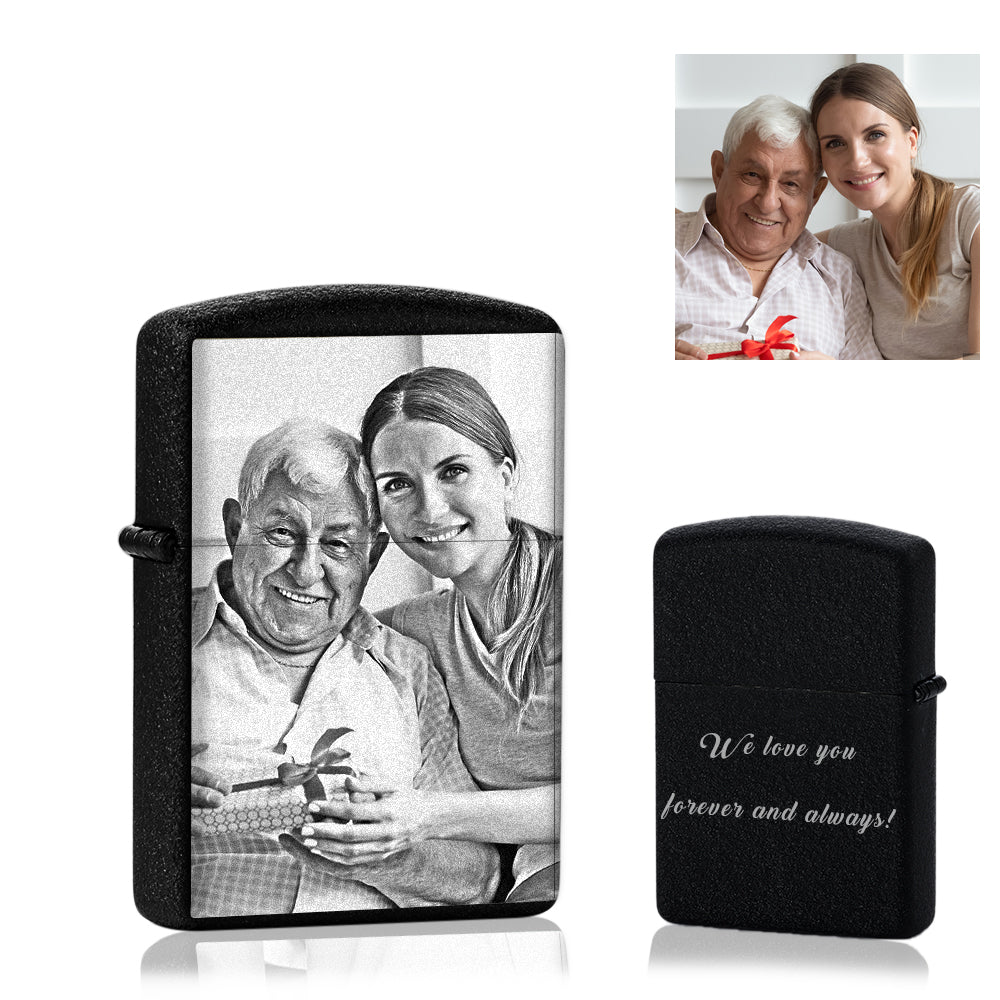 Scrub Black | Custom Engraved Photo Lighter | Zippo Style Full Print Black And White Photo | Best Gift For Dad