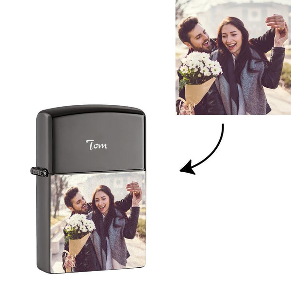 Custom Zippo Style Engraved Colorful Photo Electric Cigarette Lighter Unique Gifts USB Power