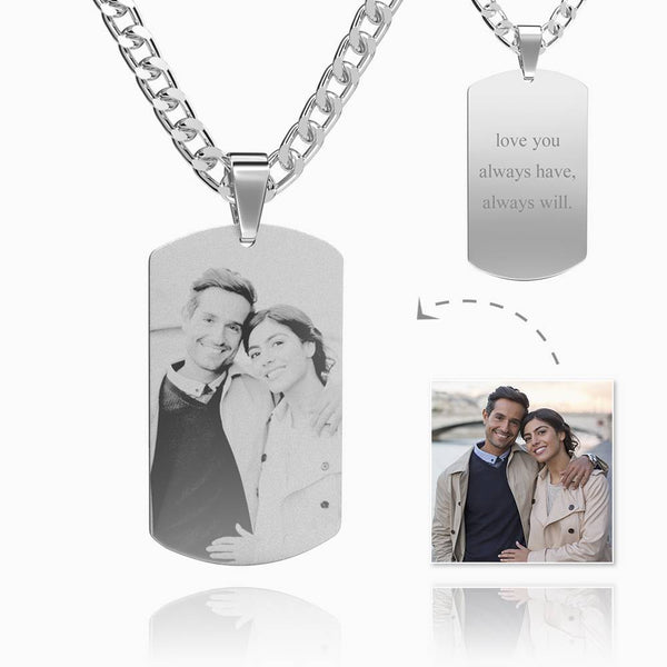 Men's Photo Stainless Steel Necklace With Engraved Tag