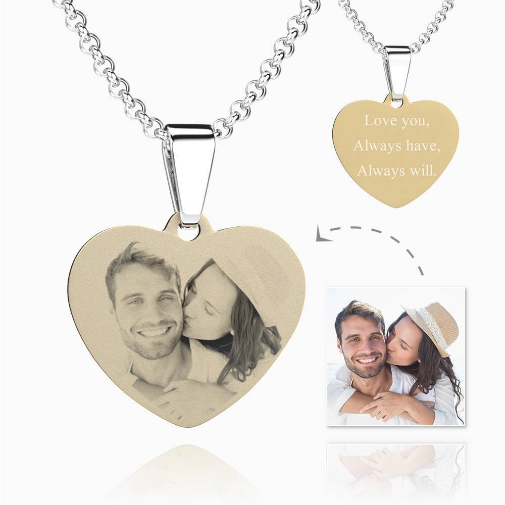 Women's 18k Gold Plated Stainless Steel Heart Photo Engraved Dog Tag Necklace
