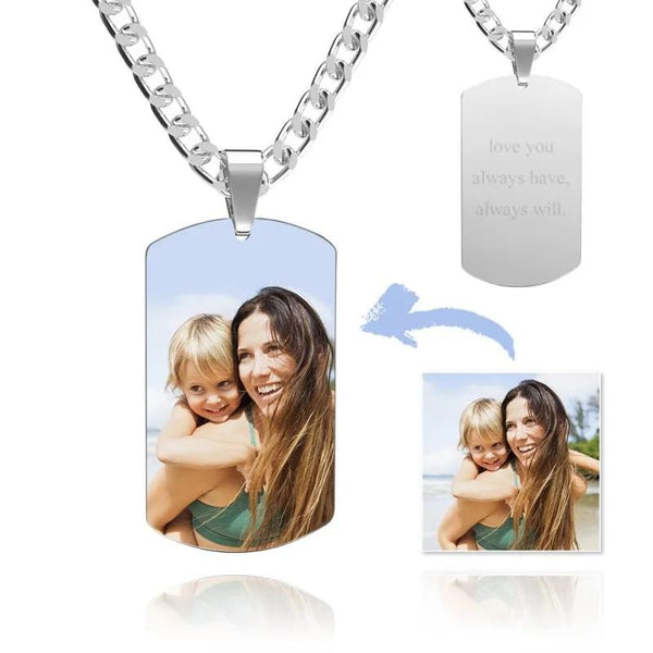 Men's Necklace with Photo Engraved Tag Necklace