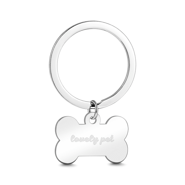 Custom Bone Shape Stainless Steel  Engraving Keychain