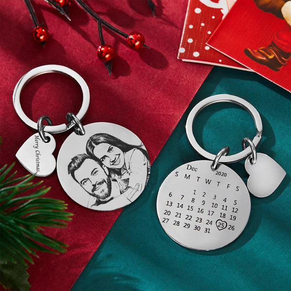 Keychain with Custom Photo Engraved Calendar