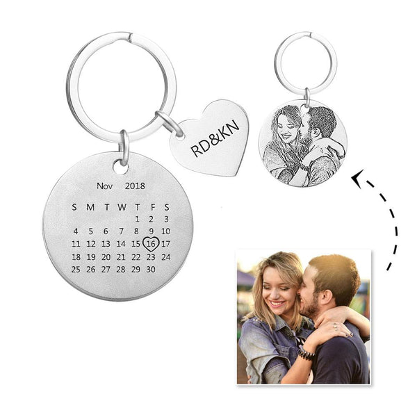 Custom Photo Personalized Anniversary Calendar Keychain