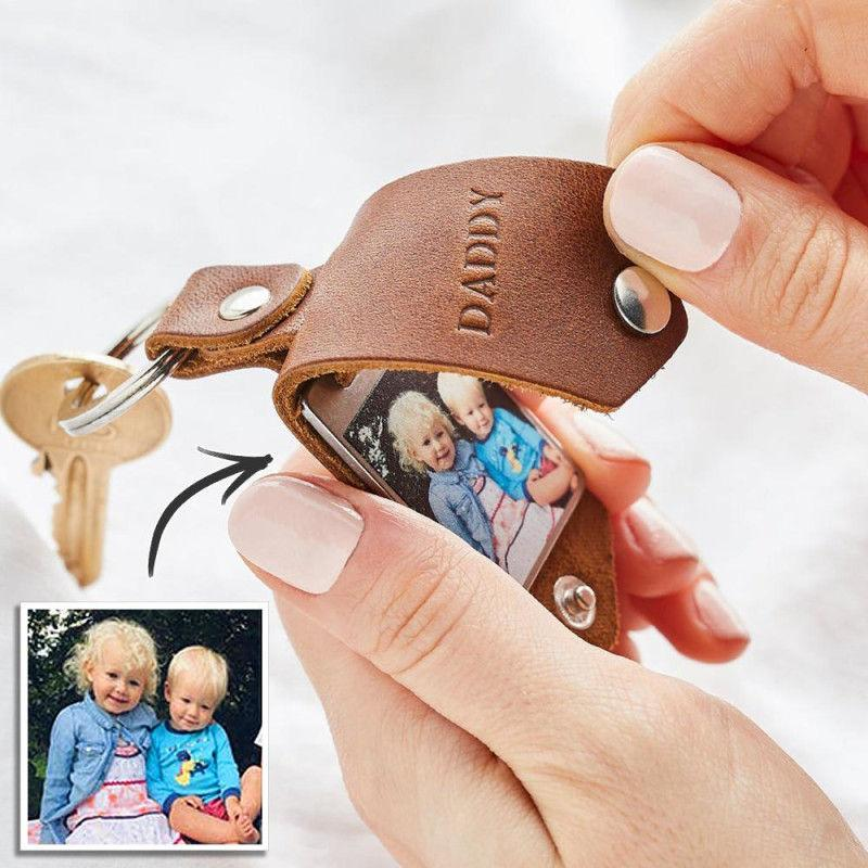 Custom Engraved Photo Keychain With Leather Case-For Man