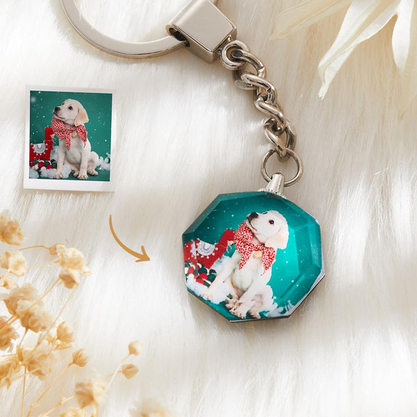 Custom Crystal Photo Keyring - Heptagon