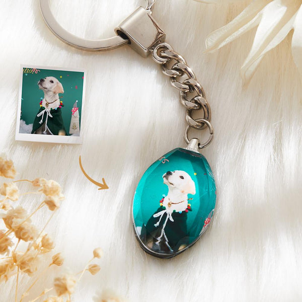 Custom Crystal Photo Keyring - Ellipse