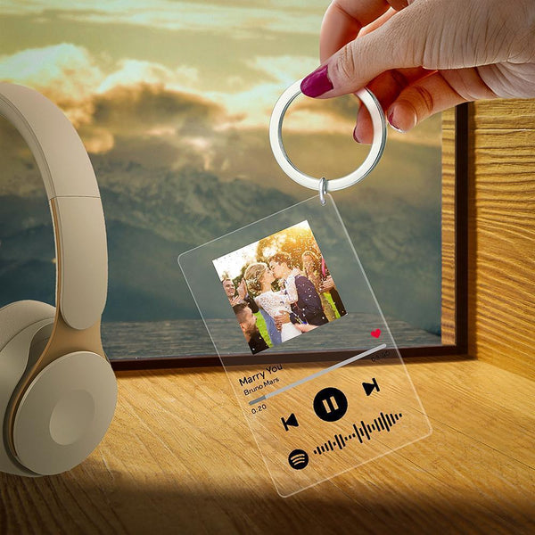 Spotify Glass - Personalized Spotify Code Music Plaque Keychain(2.1in x 3.4in)
