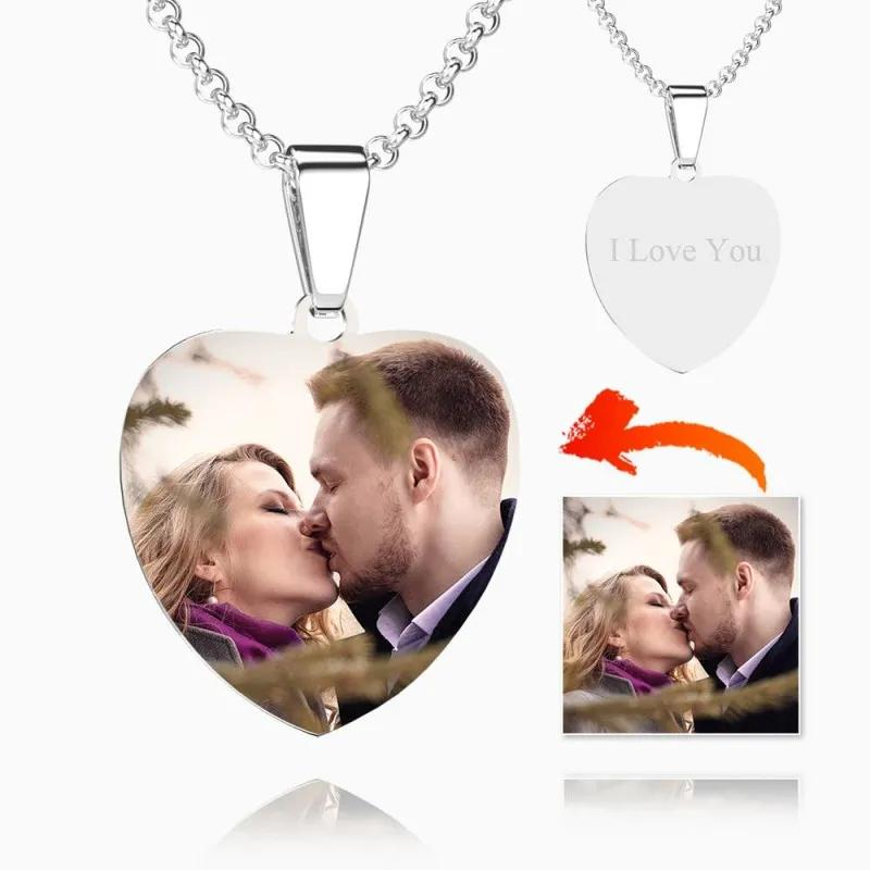 Heart Photo Engraved Tag Necklace