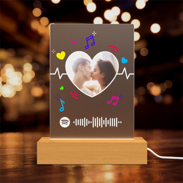 Smooth /Matt Multiple styles Custom Spotify Night Light With Wooden Base