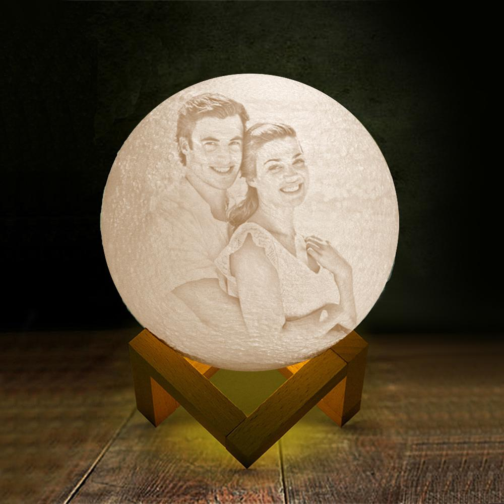 Custom  Moon Lamp | Touch to Convert 2 Colors|Engraved 3D Printing Photo