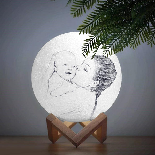 Personalized  Moon Lamp | Mom's Gift| Touch to Convert 2 Colors| Engraved 3D Photo
