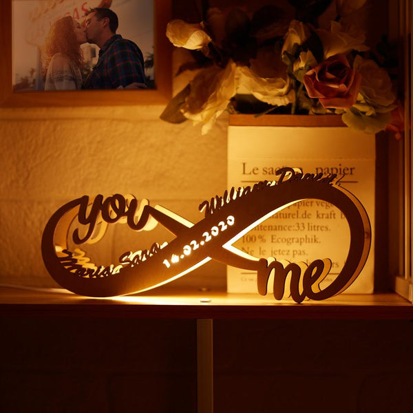 Custom Infinity I Love You Night Light Engraved Wood Lamp