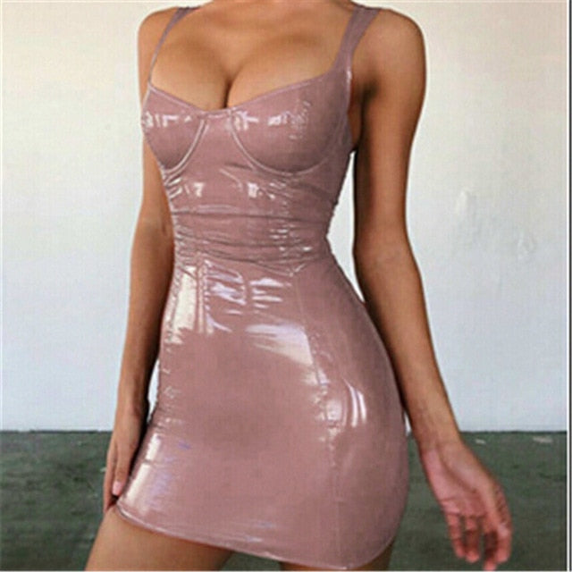 Leather Push Up Backless Club Party Mini Micro Dress