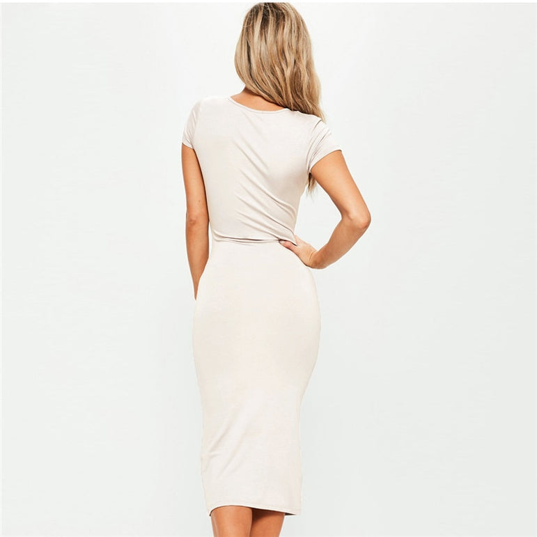 Office Lady Cotton Long Party Dress