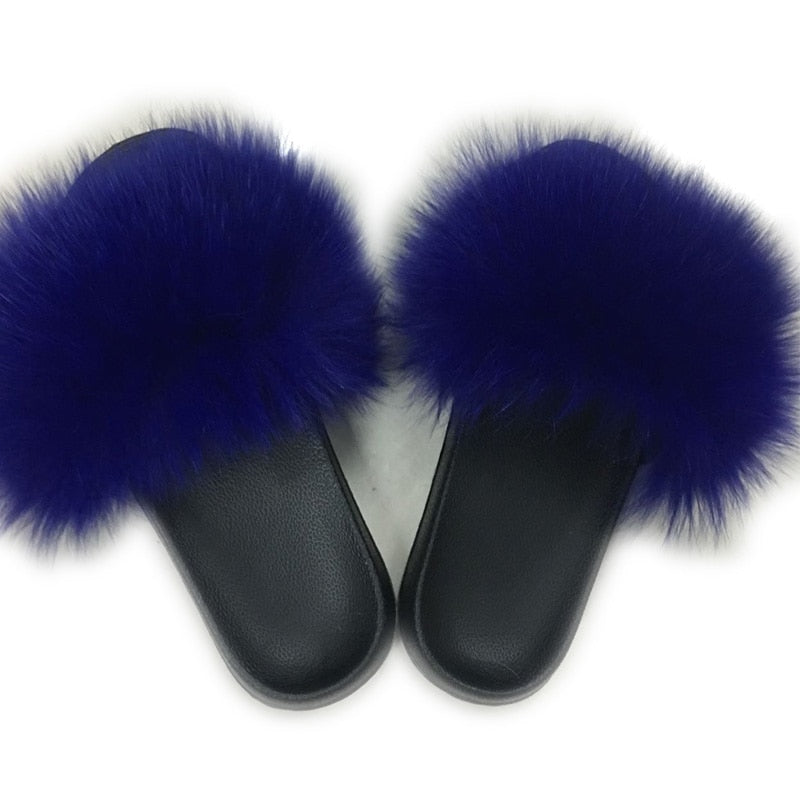 Women Indoor Flip Fox Fur Slippers