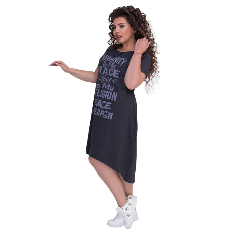 Casual Letters Printed Short Sleeve Mid Calf Dress