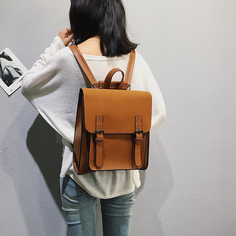 Leather Women Two sets Bags Backpack