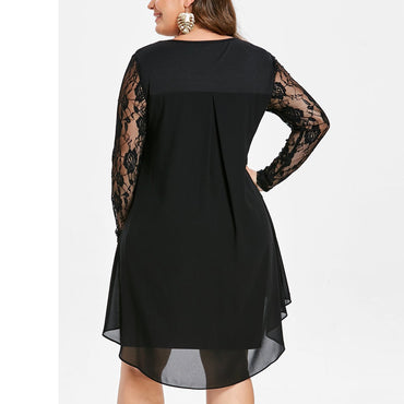 Casual party Lace Sleeve High Low Hem Dress