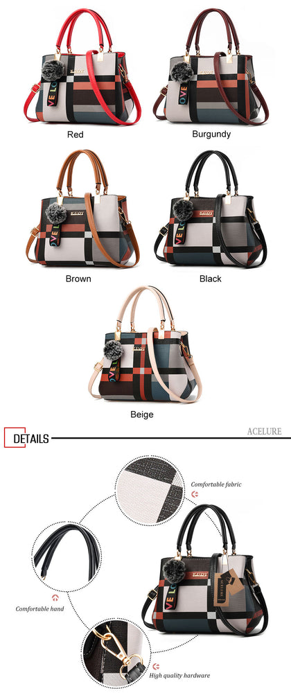 Leather Casual Plaid Crossbody Handbags
