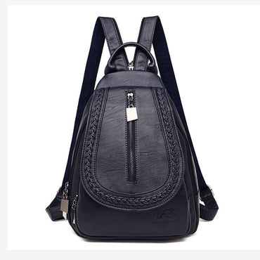 Leather Women Zipper Bags Backpack