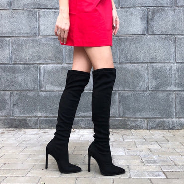 Pointed Toe Winter Over The Knee Stretch Fabrics Boots