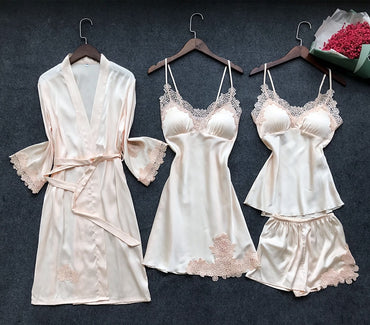 Women Pajamas Four Pieces Satin Sleepwear