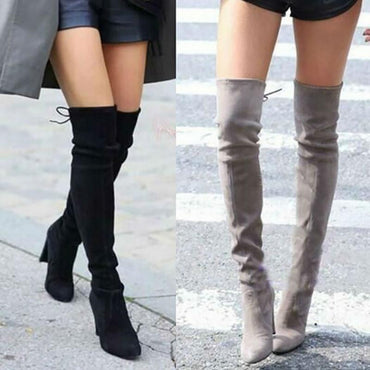Pointed Faux Suede Slim Over the Knee Winter Boots