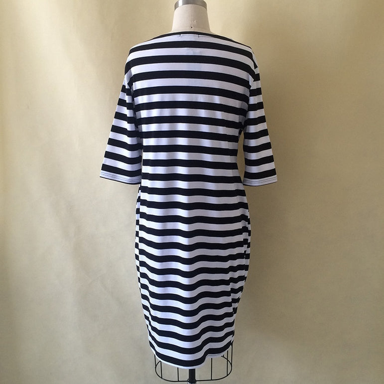 Plus Size Women Striped  Dress