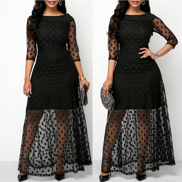 Elegant Polka Dot Print Lace Dress