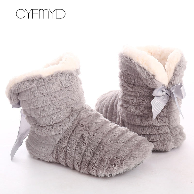 Winter Butterfly Fur Slippers