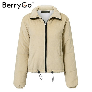 Winter Warm Casual Corduroy thick parka Overcoat