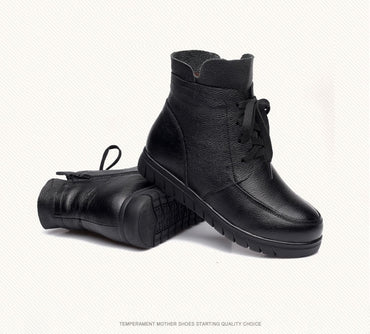 Leather Vintage Genuine Warm Ankle Boots
