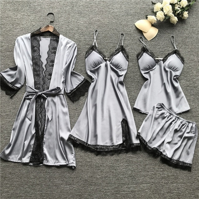 Pajamas Sets Satin four Pieces