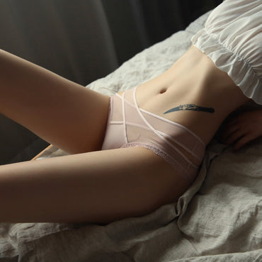 Cross Lace Up Silk Lace Net Women's Panties