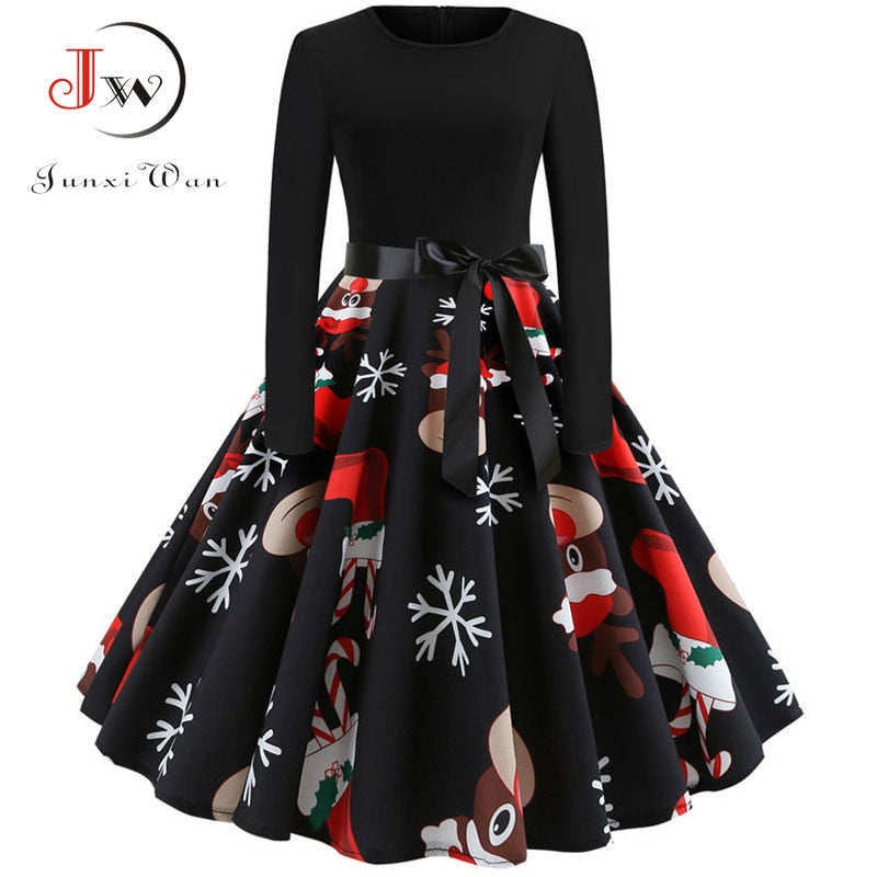 Elegant Party Winter Vintage Robe Swing Dresses