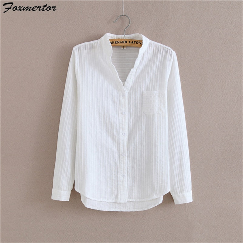 Long Sleeve Cotton Shirt High Quality Blouse