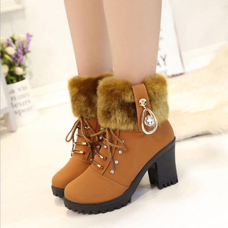Winter Boots  Warm High Heel 2019 Winter