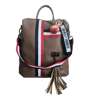 Leather zipper ladies backpack