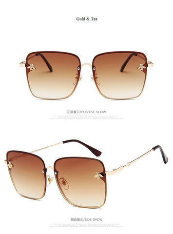 Square Bee Sunglasses Metal Frame Oversized Sun Glasses